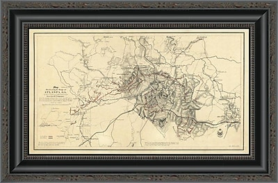 East Urban Home 'Civil War Map Illustrating the Siege of Atlanta; Georgia; 1864' Framed Print