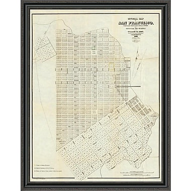 East Urban Home 'Official Map of San Francisco; 1851' Framed Print; 44'' H x 35'' W x 1.5'' D