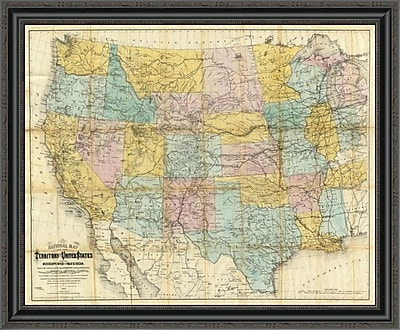 East Urban Home 'National Map of the Territory of the United States; 1868' Framed Print