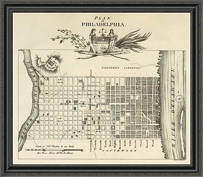 East Urban Home 'Philadelphia; 1824' Framed Print; 28'' H x 34'' W x 1.5'' D