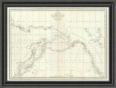 East Urban Home 'Cotes; L'Amerique; L'Asie; 1797' Framed Print; 20'' H x 34'' W x 1.5'' D