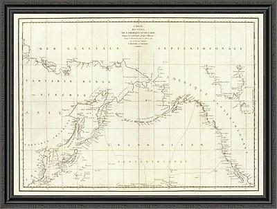 East Urban Home 'Cotes; L'Amerique; L'Asie; 1797' Framed Print; 34'' H x 44'' W x 1.5'' D
