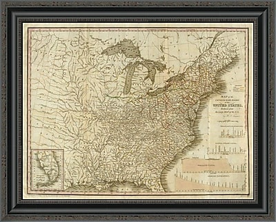 'A Connected View of the Whole Internal Navigation of the United States; 1830' Framed Print