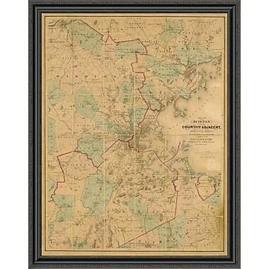 East Urban Home 'Map of Boston; 1860' Framed Print; 16'' H x 35'' W x 1.5'' D