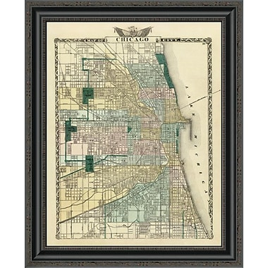 East Urban Home 'Map of Chicago City; 1876' Framed Print; 26'' H x 21'' W x 1.5'' D
