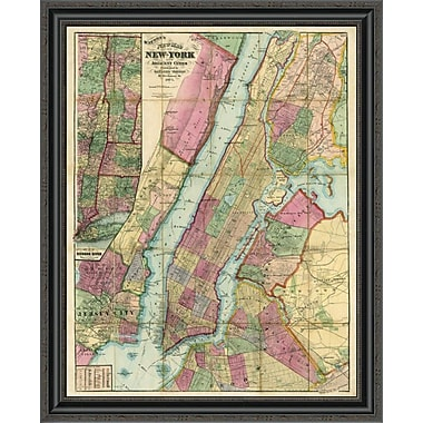 East Urban Home 'Map of New York and Adjacent Cities; 1874' Framed Print; 22'' H x 27'' W x 1.5'' D