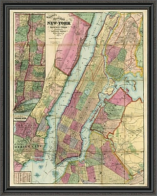 East Urban Home 'Map of New York and Adjacent Cities; 1874' Framed Print; 33'' H x 35'' W x 1.5'' D