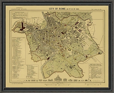 East Urban Home 'Rome; 1883 - Tea Stained' Framed Print; 16'' H x 44'' W x 1.5'' D