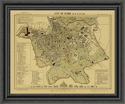 East Urban Home 'Rome; 1883 - Tea Stained' Framed Print; 24'' H x 26'' W x 1.5'' D