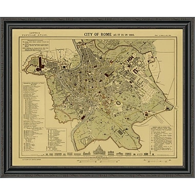 East Urban Home 'Rome; 1883 - Tea Stained' Framed Print; 28'' H x 34'' W x 1.5'' D