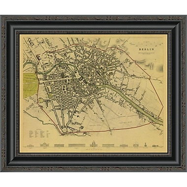 East Urban Home 'Berlin; Germany; 1833 - Tea Stained' Framed Print; 15'' H x 20'' W x 1.5'' D