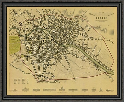 East Urban Home 'Berlin; Germany; 1833 - Tea Stained' Framed Print; 28'' H x 40'' W x 1.5'' D