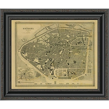 East Urban Home 'Brussels; Belgium; 1860 - Tea Stained' Framed Print; 16'' H x 20'' W x 1.5'' D