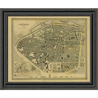 East Urban Home 'Brussels; Belgium; 1860 - Tea Stained' Framed Print; 21'' H x 26'' W x 1.5'' D
