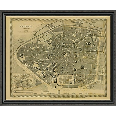 East Urban Home 'Brussels; Belgium; 1860 - Tea Stained' Framed Print; 35'' H x 44'' W x 1.5'' D
