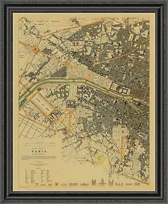 East Urban Home 'Paris; France; 1834 - Tea Stained' Framed Print; 28'' H x 28'' W x 1.5'' D