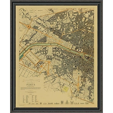 East Urban Home 'Paris; France; 1834 - Tea Stained' Framed Print; 36'' H x 36'' W x 1.5'' D