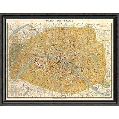 East Urban Home 'Gilded Map of Paris' Framed Print; 22'' H x 44'' W x 1.5'' D