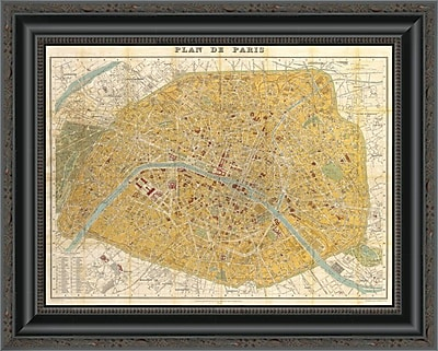 East Urban Home 'Gilded Map of Paris' Framed Print; 28'' H x 20'' W x 1.5'' D
