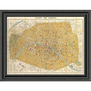 East Urban Home 'Gilded Map of Paris' Framed Print; 34'' H x 28'' W x 1.5'' D