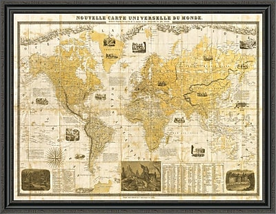 East Urban Home 'Gilded 1859 Map of the World' Framed Print; 16'' H x 44'' W x 1.5'' D