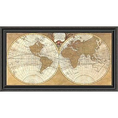 East Urban Home 'Gilded World Hemispheres I' Framed Print; 16'' H x 40'' W x 1.5'' D