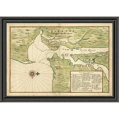 East Urban Home 'Map of New York City Region - Manatvs Gelegen Op De Noot Riuier; 1639' Framed Print