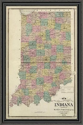 East Urban Home 'New Sectional and Township Map of Indiana; 1876' Framed Print