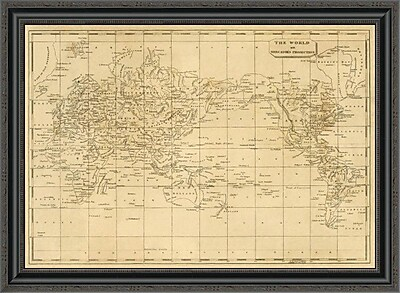 East Urban Home 'World Mercator's Projection; 1812' Framed Print; 26'' H x 34'' W x 1.5'' D