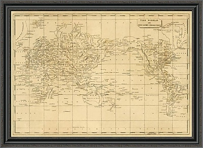 East Urban Home 'World Mercator's Projection; 1812' Framed Print; 34'' H x 40'' W x 1.5'' D