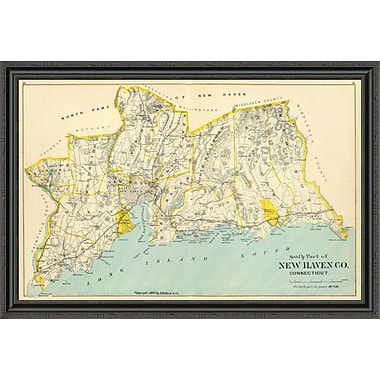 East Urban Home 'Connecticut: New Haven County South; 1893' Framed Print; 30'' H x 44'' W x 1.5'' D