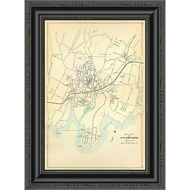 East Urban Home 'Stamford; Connecticut; 1893' Framed Print; 14'' H x 15'' W x 1.5'' D