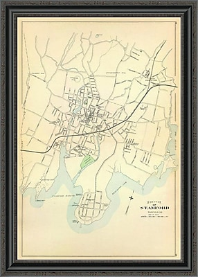 East Urban Home 'Stamford; Connecticut; 1893' Framed Print; 24'' H x 24'' W x 1.5'' D