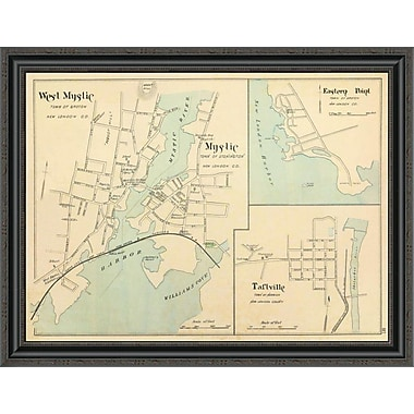 East Urban Home 'W. Mystic; Mystic; Connecticut; 1893' Framed Print; 34'' H x 34'' W x 1.5'' D