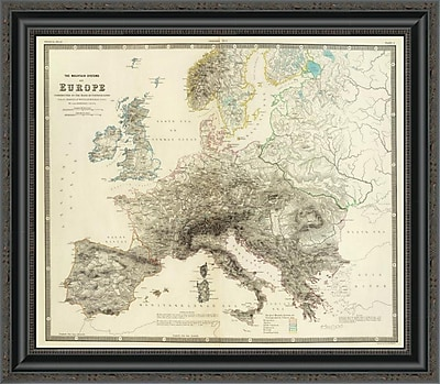 East Urban Home 'Mountains of Europe; 1854' Framed Print; 15'' H x 26'' W x 1.5'' D