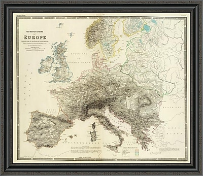 East Urban Home 'Mountains of Europe; 1854' Framed Print; 18'' H x 34'' W x 1.5'' D