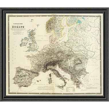 East Urban Home 'Mountains of Europe; 1854' Framed Print; 24'' H x 40'' W x 1.5'' D