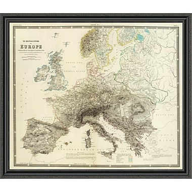 East Urban Home 'Mountains of Europe; 1854' Framed Print; 28'' H x 44'' W x 1.5'' D