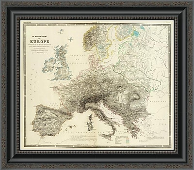East Urban Home 'Mountains of Europe; 1854' Framed Print; 44'' H x 20'' W x 1.5'' D