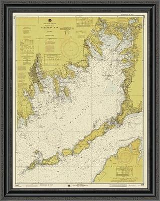 East Urban Home 'Nautical Chart - Buzzards Bay CA. 1974 - Sepia Tinted' Framed Print