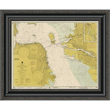 East Urban Home 'Nautical Chart - San Francisco Bay CA. 1975 - Sepia Tinted' Framed Print
