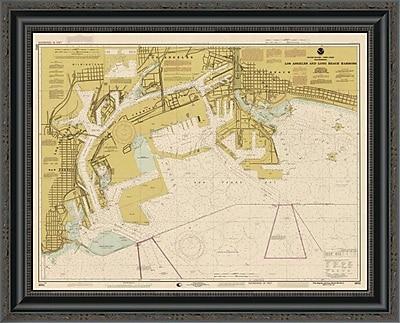 'Nautical Chart - Los Angeles and Long Beach Harbors CA. 1998 - Sepia Tinted' Framed Print
