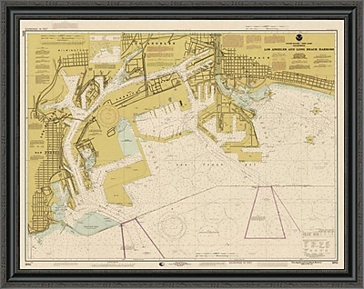 'Nautical Chart - Los Angeles and Long Beach Harbors CA. 1998 - Sepia Tinted' Framed Print