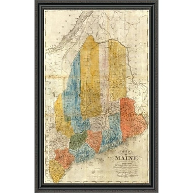 East Urban Home 'Map of Maine; 1843' Framed Print; 32'' H x 28'' W x 1.5'' D