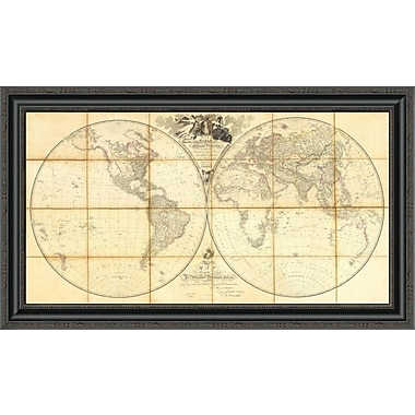 East Urban Home 'Map of the World; Researches of Capt. James Cook; 1808' Framed Print