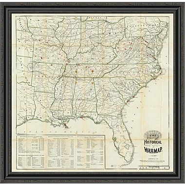 East Urban Home 'The United States Historical War Map; 1862' Framed Print; 14'' H x 34'' W x 1.5'' D