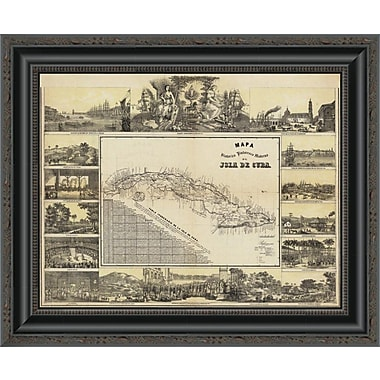 East Urban Home 'Mapa Historico Pintoresca Moderno De Al Isla De Cuba; 1853' Framed Print