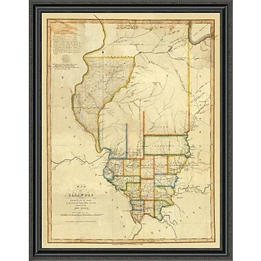 East Urban Home 'Map of Illinois; 1820' Framed Print; 20'' H x 34'' W x 1.5'' D