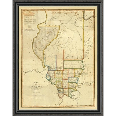 East Urban Home 'Map of Illinois; 1820' Framed Print; 34'' H x 31'' W x 1.5'' D