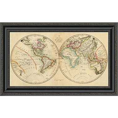 East Urban Home 'Map of the World; 1820' Framed Print; 16'' H x 26'' W x 1.5'' D